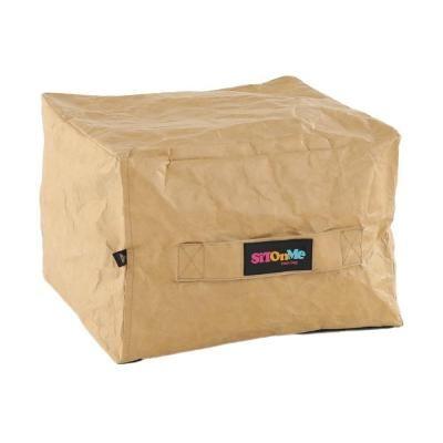 Papír hatású babzsák puff, kocka alakú, világosbarna - TENTE